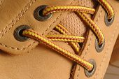 stock photo of work boots  - detail suede shoe shot with micro nikkor lens - JPG