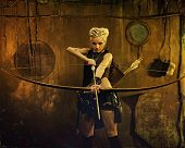 picture of doomsday  - Woman with a bow in a bunker - JPG