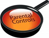 stock photo of pornographic  - magnifying glass over top of parental controls button - JPG
