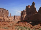 Photo of park avenue sandstone monuments in utah. Backdrop for the movie thelma and louise.