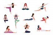 Yoga Characters. Women Doing Yoga Exercises, Warming Up And Stretching Various Stretches Poses, Medi poster