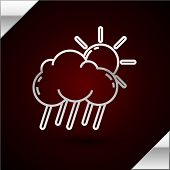 Silver Line Cloud With Rain And Sun Icon Isolated On Dark Red Background. Rain Cloud Precipitation W poster