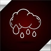 Silver Line Cloud With Rain Icon Isolated On Dark Red Background. Rain Cloud Precipitation With Rain poster