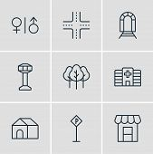 Vector Illustration Of 9 City Icons Line Style. Editable Set Of Wc, Crossroad, Tree And Other Icon E poster