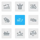 Illustration Of 9 Marine Icons Line Style. Editable Set Of Oxygen Balloons, Cetacean, Diving Board A poster