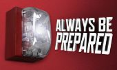 Always Be Prepared Fire Alarm Emergency Drill Practice Exercise 3d Illustration poster