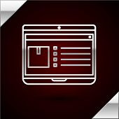 Silver Line Laptop With App Delivery Tracking Icon Isolated On Dark Red Background. Parcel Tracking. poster
