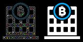 Glowing Mesh Bitcoin Corporation Building Icon With Sparkle Effect. Abstract Illuminated Model Of Bi poster