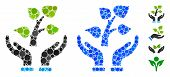 Eco Project Mosaic Of Round Dots In Different Sizes And Color Hues, Based On Eco Project Icon. Vecto poster