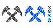 Job Hammers Composition Of Round Dots In Various Sizes And Color Tinges, Based On Job Hammers Icon.  poster