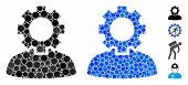 Job Mosaic Of Small Circles In Variable Sizes And Color Tints, Based On Job Icon. Vector Filled Circ poster