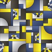 Blue Gold Black Pattern With Eyes In Geometric Shapes Grid Vintage Fashion Fabric Print. Decorative  poster