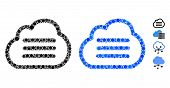 Cloud File Mosaic Of Small Circles In Different Sizes And Shades, Based On Cloud File Icon. Vector S poster