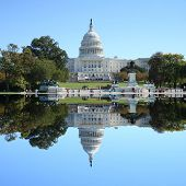 foto of capitol building  - US Capitol building reflected Washington DC USA - JPG