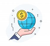 Hand Holding A Globe. Virtual Communication Smartphone. Cooperation Interaction. Vector Illustration poster