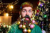 Bearded Santa With Decorated Beard. Surprused Santa Man With Decorated Beard. Merry Christmas And Ha poster