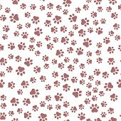 Seamless Pet Paw Pattern Background. Dog Or Cat Paw Wallpaper Illustration Footprint poster
