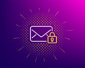 Secure Mail Line Icon. Halftone Pattern. Private Message Correspondence Sign. E-mail Symbol. Gradien poster
