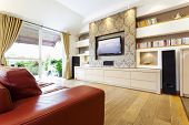 image of home addition  - Modern room with plasma tv - JPG