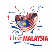 The National Flag Of The Malaysia And The Inscription I Love Malaysia. Vector Illustration poster