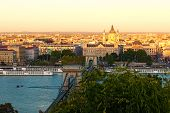 Scenic Autumn Landscape View Of Budapest. Ancient Chain Bridge Over Danube River. Sunset In The City poster