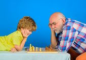 Games And Activities For Children. Checkmate. Little Boy Think Or Plan Chess Game. Grandfather And G poster