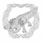 Coloring Page With Cute Axolotl In Patterned Style. Black White Hand Drawn Doodle With Amphibian For poster