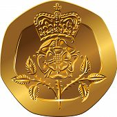 Vector British Money Gold Coin Twenty Pences With The Crowned Rose Flower