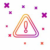 Color Line Exclamation Mark In Triangle Icon Isolated On White Background. Hazard Warning Sign, Care poster
