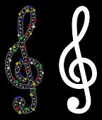 Glowing Mesh Treble Clef Icon With Lightspot Effect. Abstract Illuminated Model Of Treble Clef. Shin poster