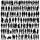 stock photo of caricatures  - people silhouette black vector girl and man walking illustration - JPG