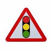pic of traffic light  - A road sign warning of a traffic light ahead  - JPG