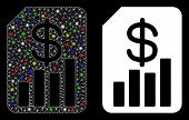 Glossy Mesh Financial Report Icon With Glow Effect. Abstract Illuminated Model Of Financial Report.  poster