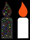 Flare Mesh Candle Icon With Glow Effect. Abstract Illuminated Model Of Candle. Shiny Wire Frame Poly poster
