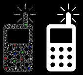 Glowing Mesh Radio Transmitter Radiation Icon With Glare Effect. Abstract Illuminated Model Of Radio poster