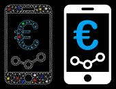 Glowing Mesh Euro Mobile Report Icon With Sparkle Effect. Abstract Illuminated Model Of Euro Mobile  poster