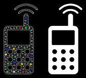 Glossy Mesh Radio Transmitter Signal Icon With Glare Effect. Abstract Illuminated Model Of Radio Tra poster