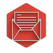 White Line Mail And E-mail Icon Isolated With Long Shadow. Envelope Symbol E-mail. Email Message Sig poster