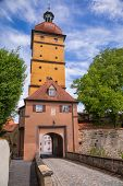 Baroque Segringer Tor (Gate) entrance to the Old Town of Dinkelsbuhl, a striking historic town on th poster