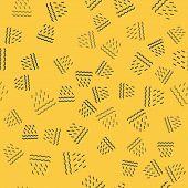Blue Line Rain And Waves Icon Isolated Seamless Pattern On Yellow Background. Rain Cloud Precipitati poster