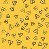 Blue Line Exclamation Mark In Triangle Icon Isolated Seamless Pattern On Yellow Background. Hazard W poster