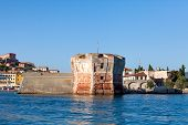 stock photo of martello  - The Linguella Tower also known as Martello Tower is a tower located in Portoferraio Elba Island - JPG