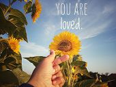 Inspirational Motivational Quote - You Are Loved. With Korean Pop Music K-pop Love Sign Hand Gesture poster
