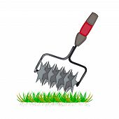 Lawn Aeration Tool Isolated On White Background. Color Cartoon Lawn Aeration Machine Icon. Lawn Gras poster
