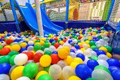 Kids Playground Indoor. Panoramic View Inside The Dry Pool With Colorful Balls And Slide. Nice Plast poster
