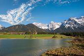Idyllic Alpine Lake Schmalensee, Tourist Hiking Destination Near Mittenwald, View To Karwendel Mount poster