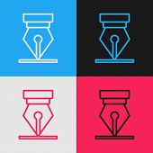 Color Line Fountain Pen Nib Icon Isolated On Color Background. Pen Tool Sign. Vintage Style Drawing. poster