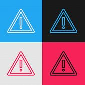 Color Line Exclamation Mark In Triangle Icon Isolated On Color Background. Hazard Warning Sign, Care poster