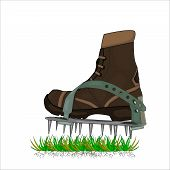 Aerator Shoes With Metal Spikes Isolated On White Background. Lawn Aerator Shoes. Lawn Spikes Shoes. poster