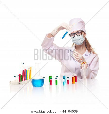 Laboratory worker selecting flasks